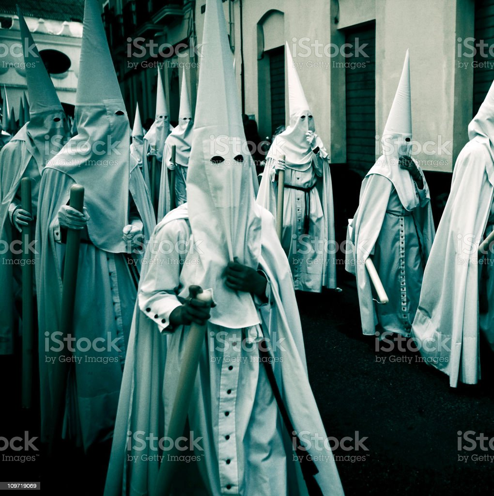 nazarenos during semana santa stock photo