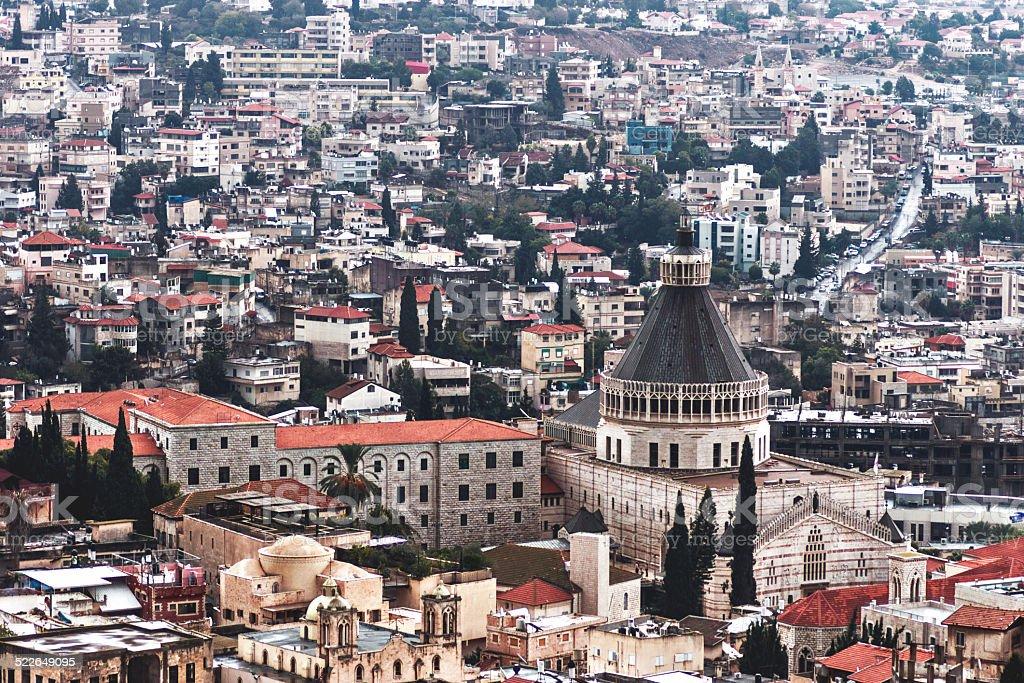 Nazareth City Basilica of the announciation Church stock photo