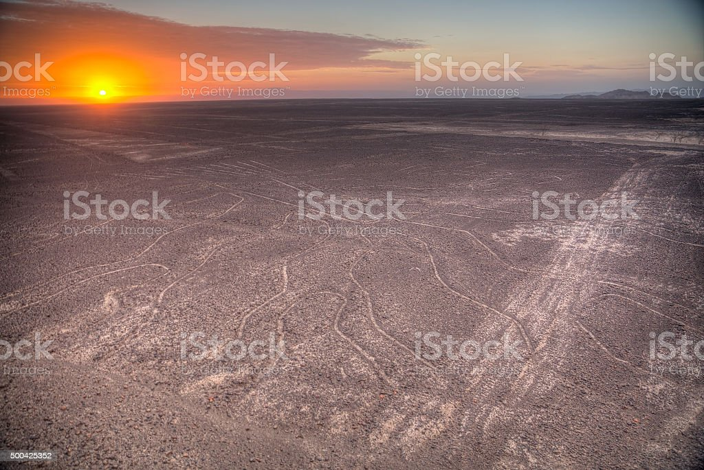 Nazca Lines in the beautiful sunset. stock photo