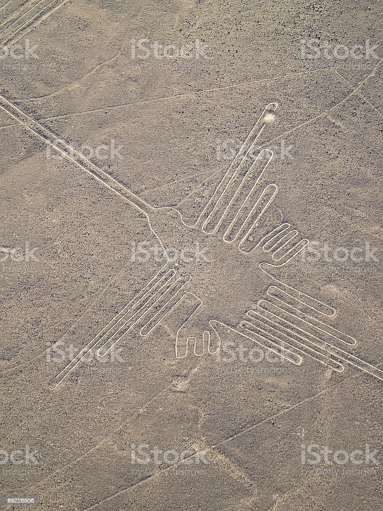 A Nazca Lines in the Peruvian Desert visible from the sky stock photo