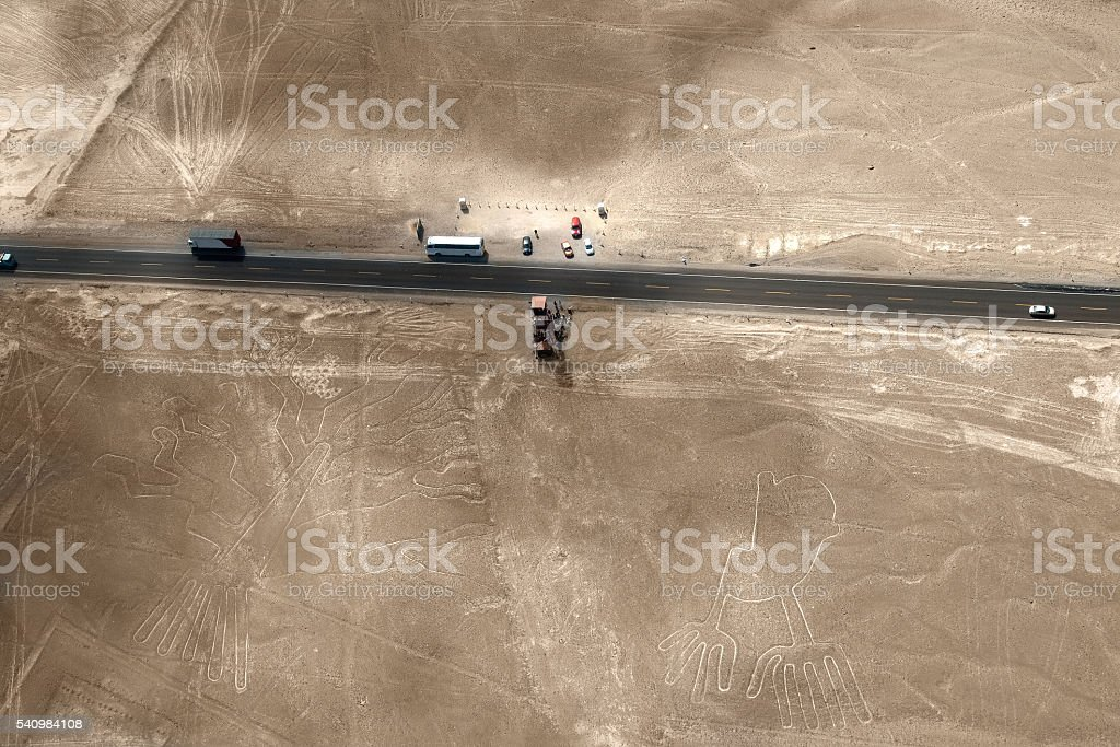 Nazca Lines, Peru - hand and tree stock photo