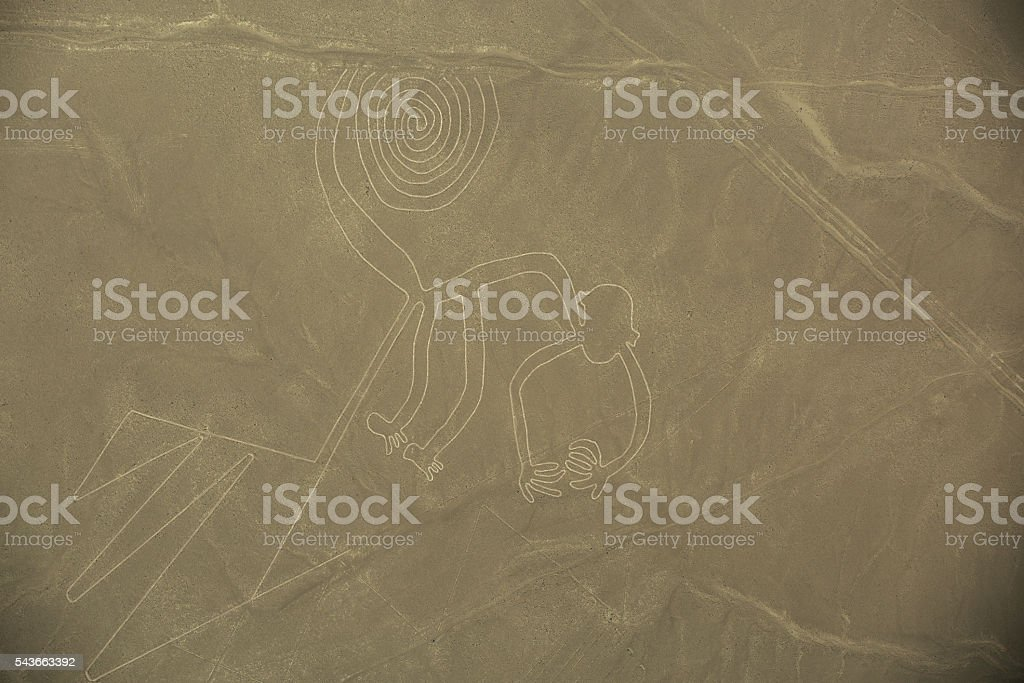 Nazca Lines,  The Monkey stock photo