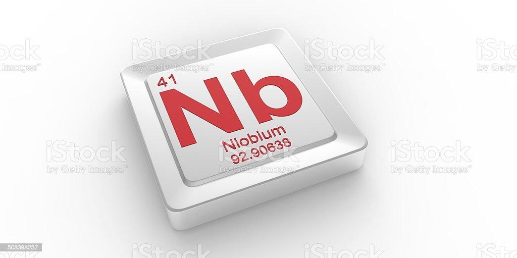 Nb symbol 41 material for Niobium chemical element stock photo