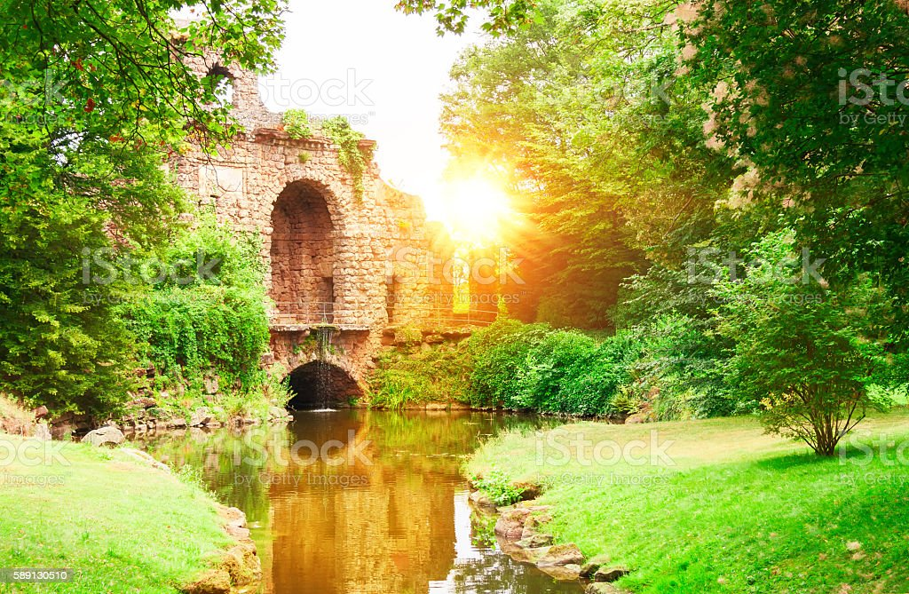 Аncient ruins in a beautiful old park. stock photo