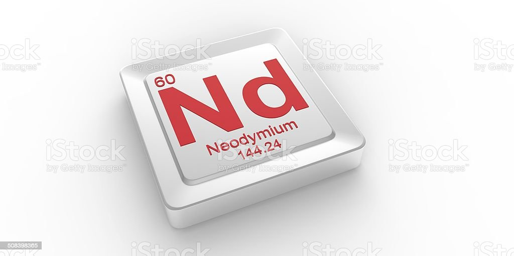 Nd symbol 60 material for Neodymium chemical element stock photo