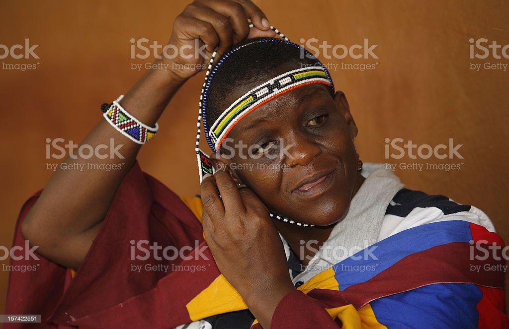 Ndebele bead lady stock photo