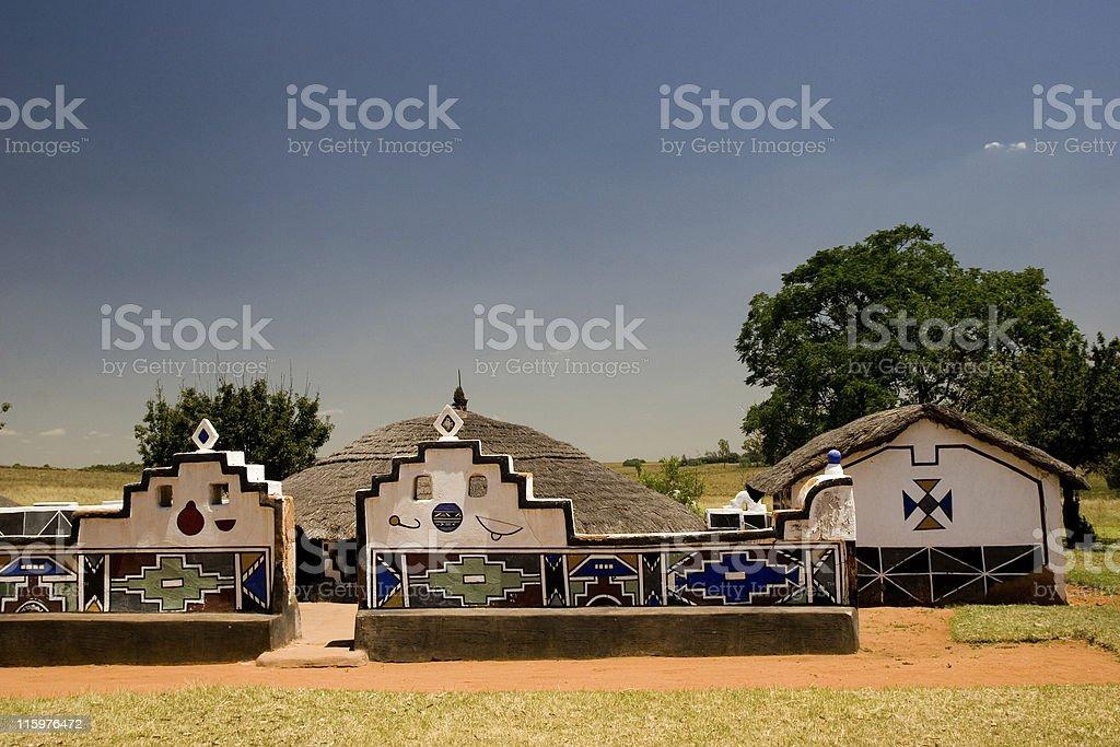 ndebele village stock photo