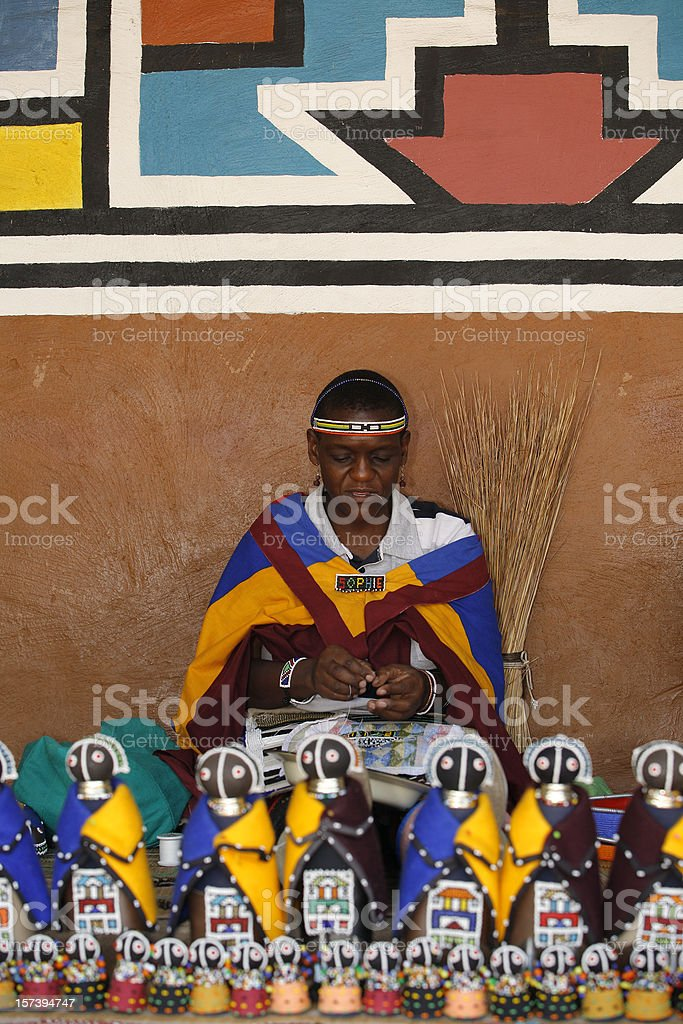 Ndebele woman and souvenirs South Africa royalty-free stock photo