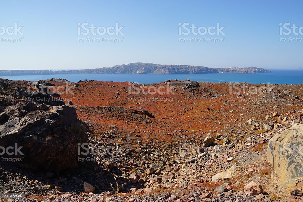 Nea Kameni island near Santorini, Cyclades, Greece stock photo