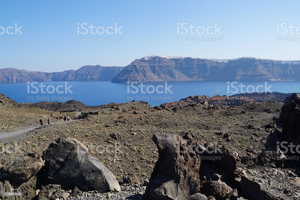 Nea Kameni island near Santorini in Greece stock photo