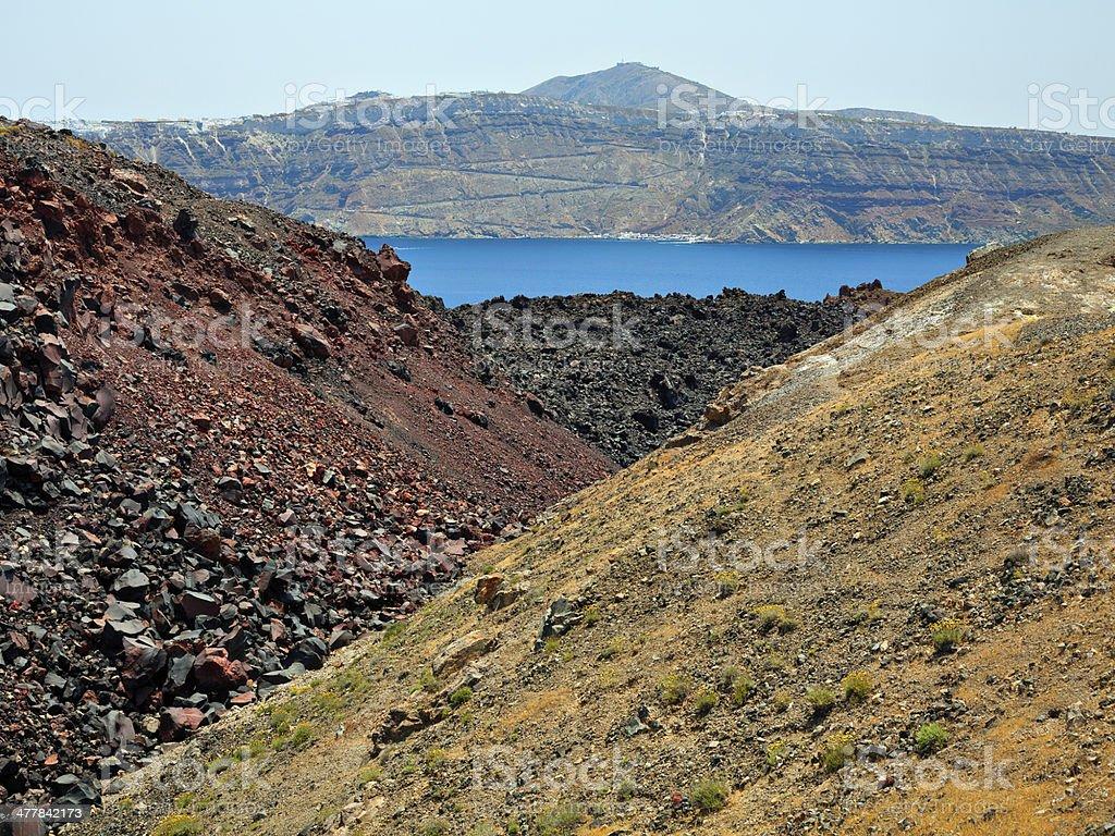 Nea Kameni volcanic island, Santorini royalty-free stock photo