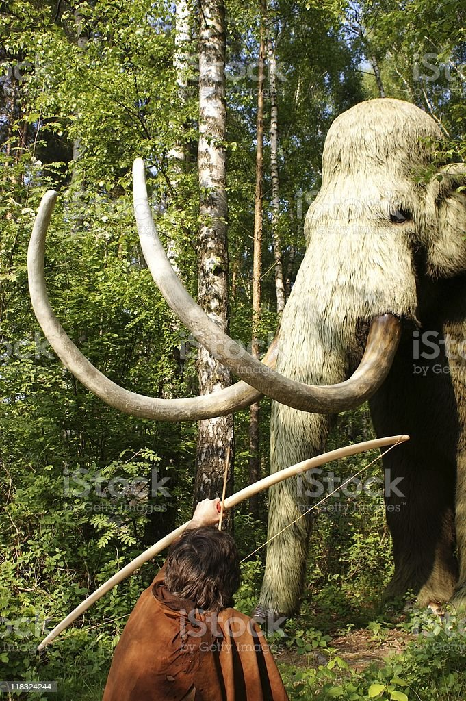 Neanderthal  hunting royalty-free stock photo