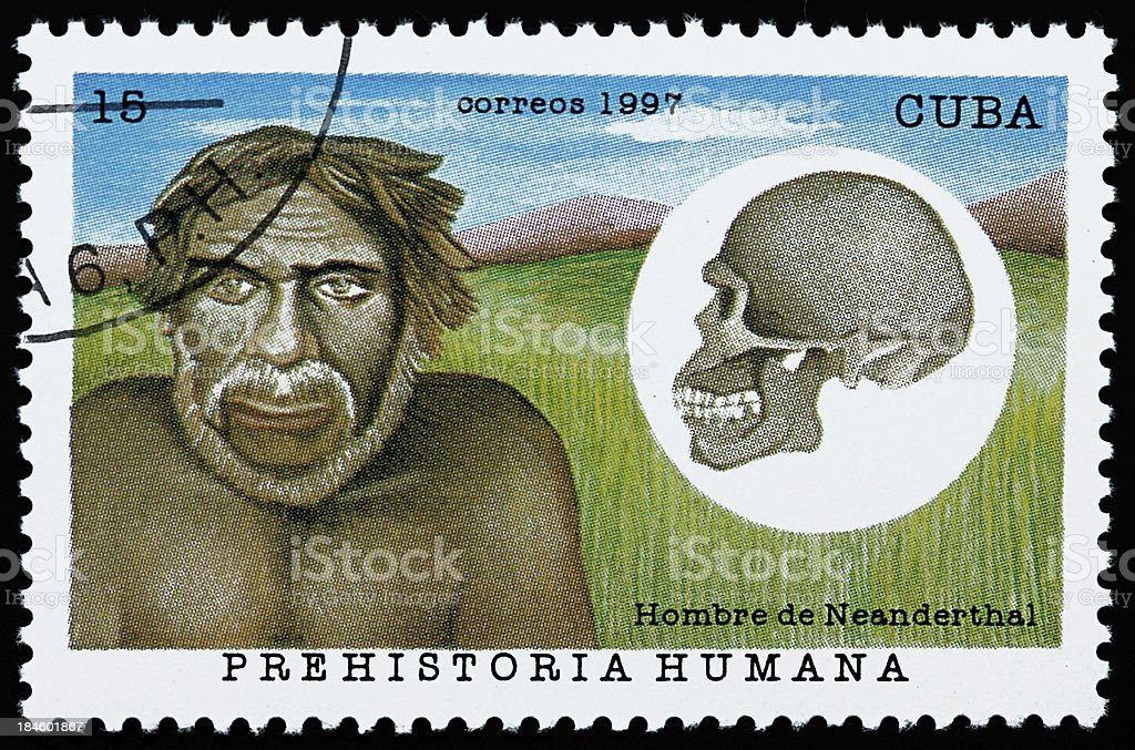 Neanderthal man stamp royalty-free stock photo
