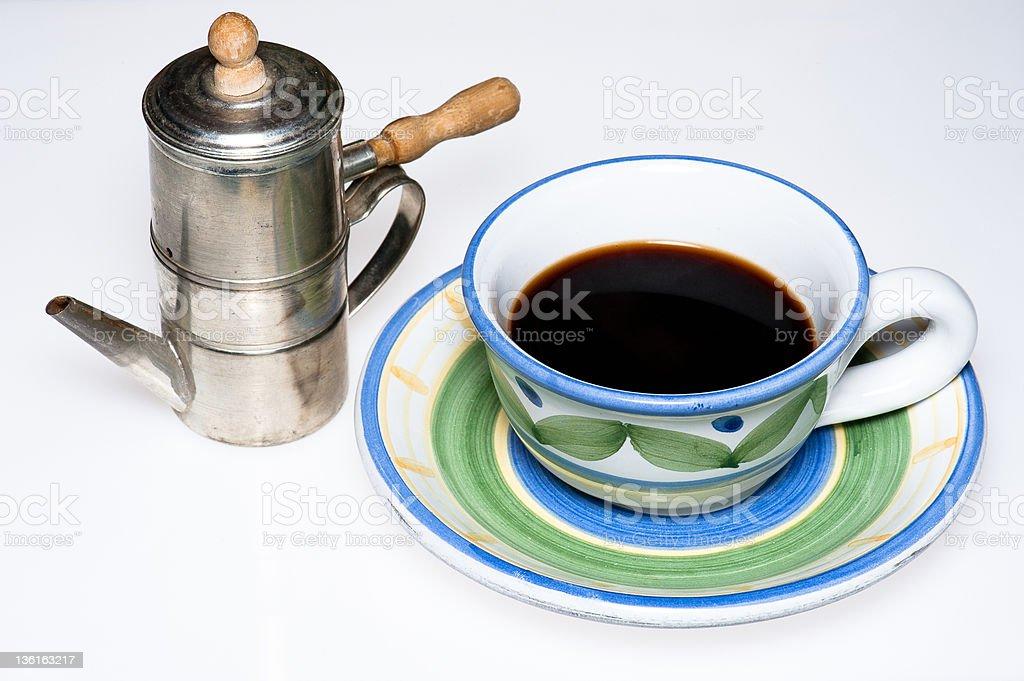 Neapolitan flip coffee pot and cup stock photo