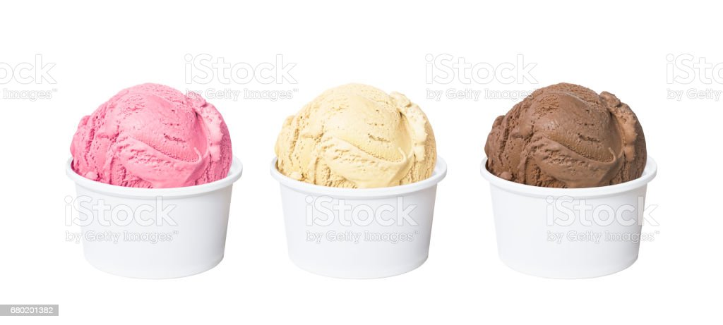 Neapolitan ice cream scoops in white cups of chocolate, strawberry, and vanilla flavours isolated on white background stock photo