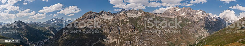 Near Col de l'Iseran, mountains on the border with Italy stock photo