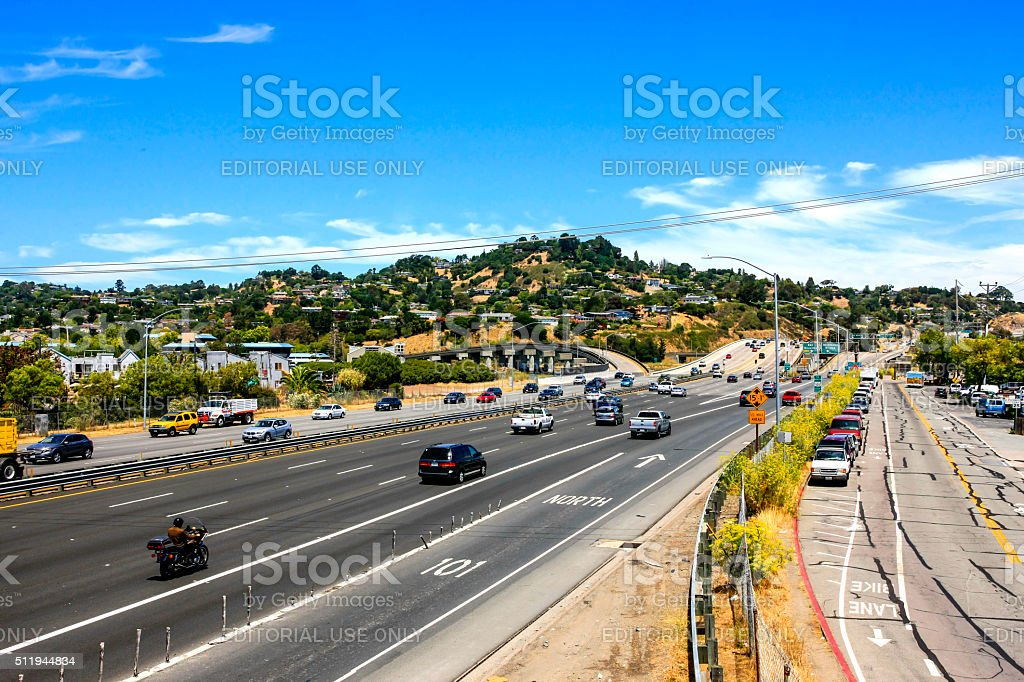US 101 near Corte Madera in Marin County California stock photo