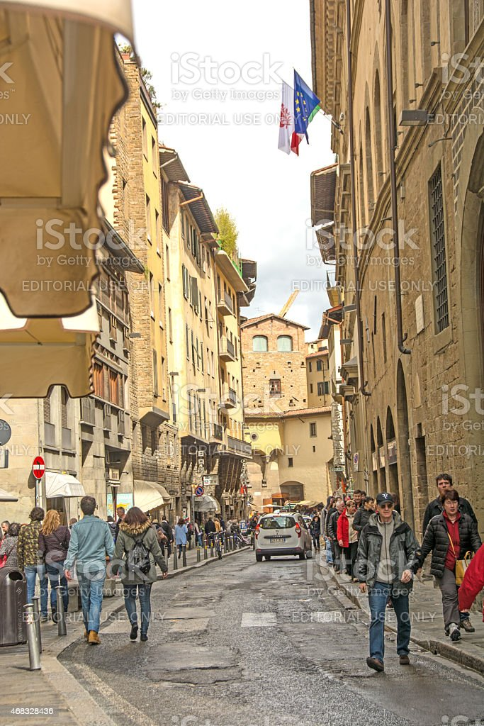 Near Pitti Palace near the Arno River in Florence, Italy. stock photo
