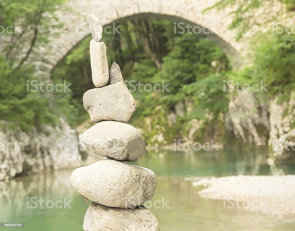 Near the river - stones, water and bridge stock photo