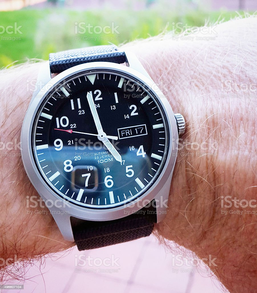 Nearly 5pm on Friday: it's the weekend! stock photo