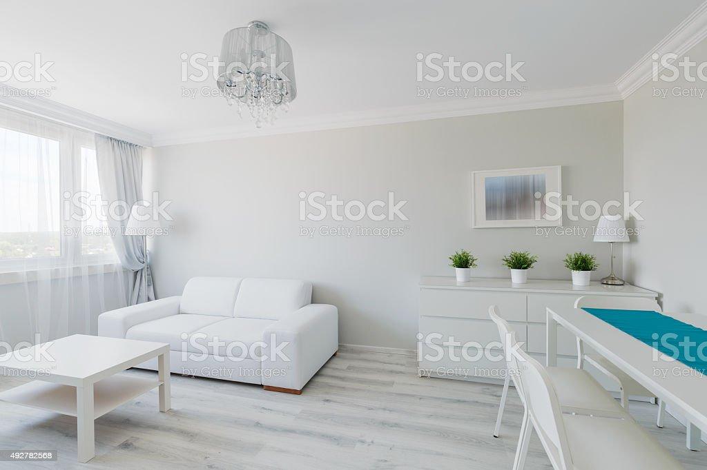 Neat furnished elegant apartment stock photo