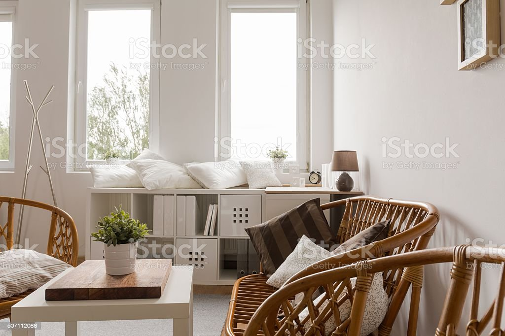 Neat furnished light interior stock photo