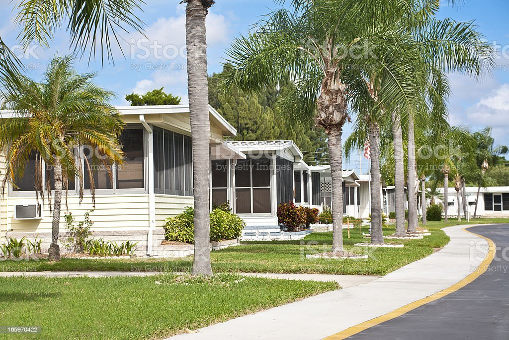 Neat home park full of mobile homes stock photo