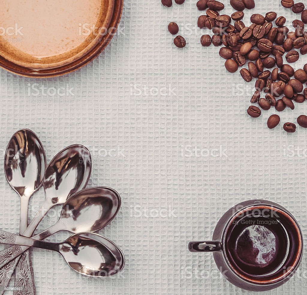 Neat table setting coffee table stock photo
