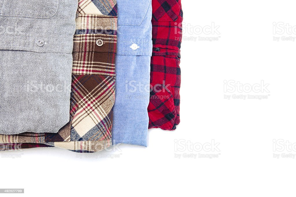 Neatly Folded Clean Mens Fashion Button Down Shirts royalty-free stock photo
