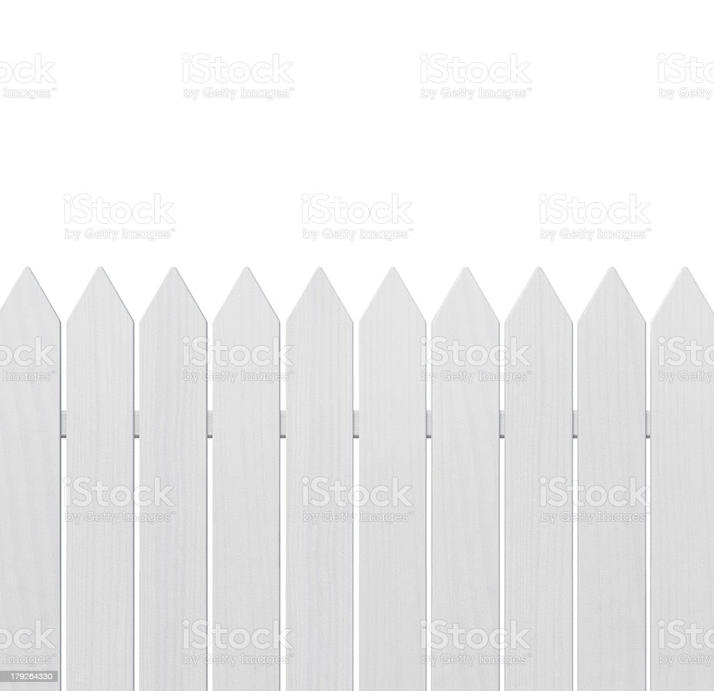 Neatly painted and lined white wooden fence stock photo