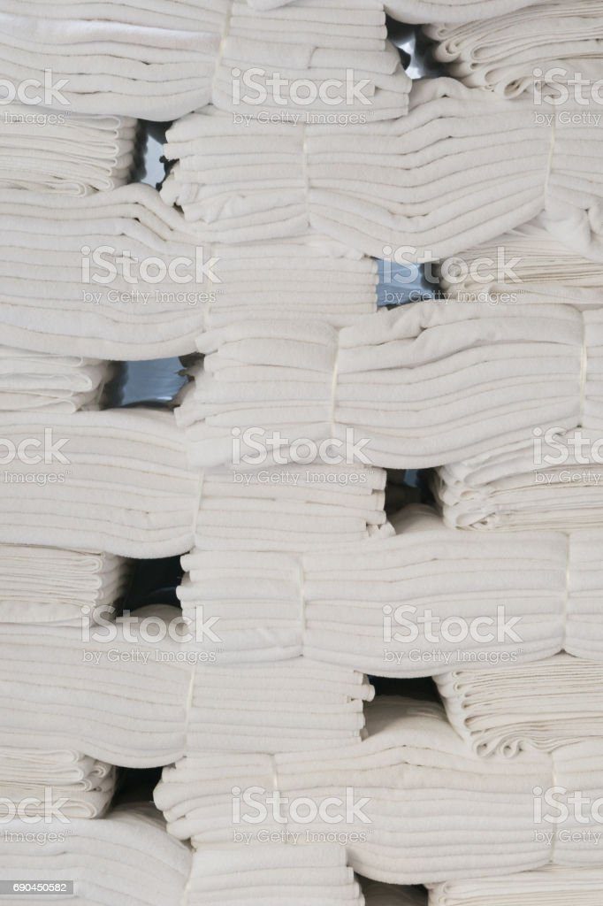 Neatly stacked bath towels stock photo