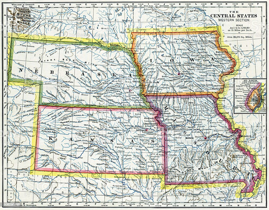 Nebraska, Iowa, Kansas, Missouri Map 1883 stock photo