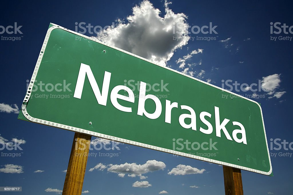 Nebraska Road Sign stock photo