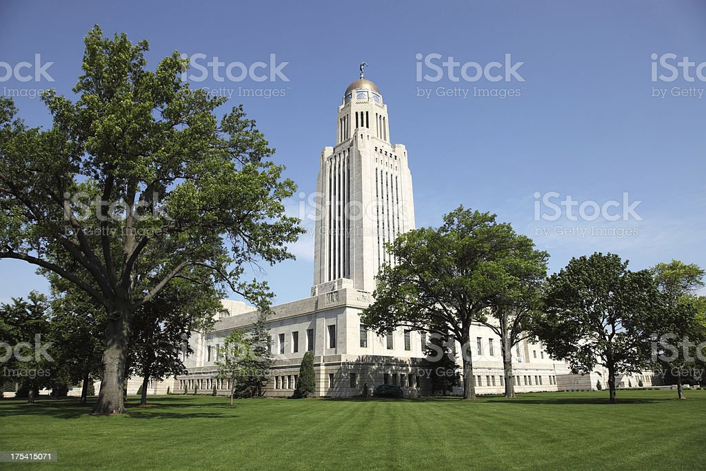 Nebraska State Capitol in Lincoln, Nebraska stock photo