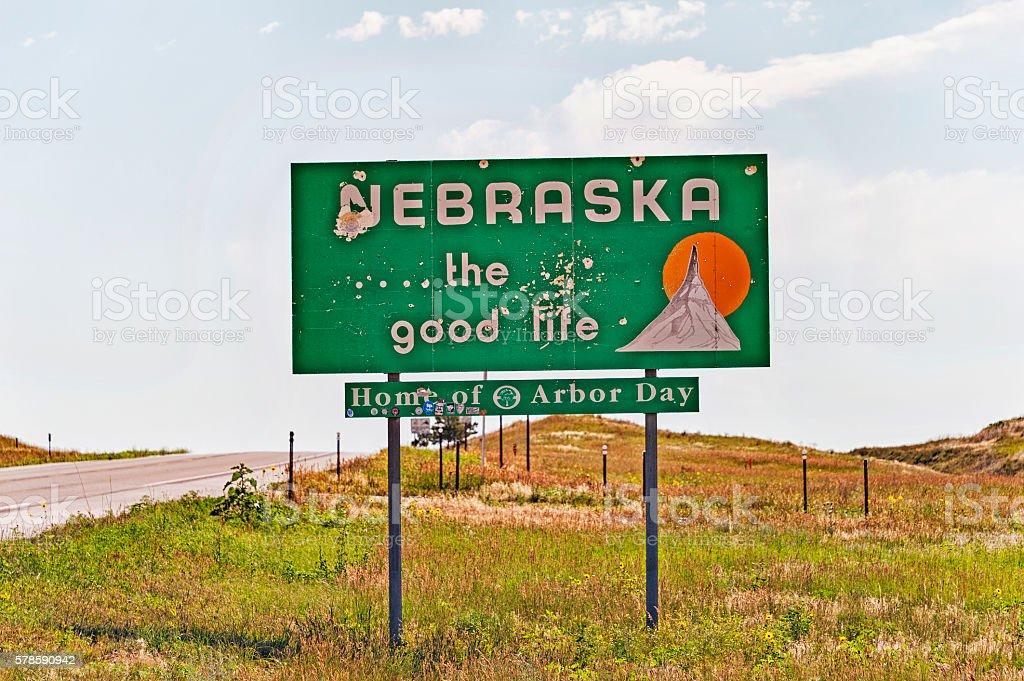 Nebraska State Line Sign stock photo