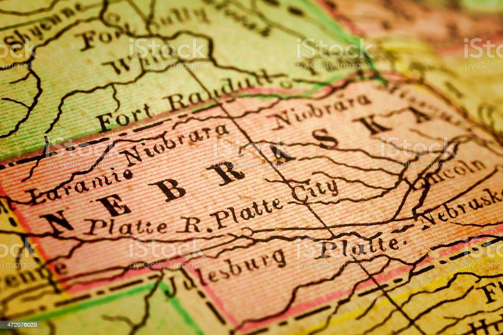 Nebraska State on an Antique map stock photo
