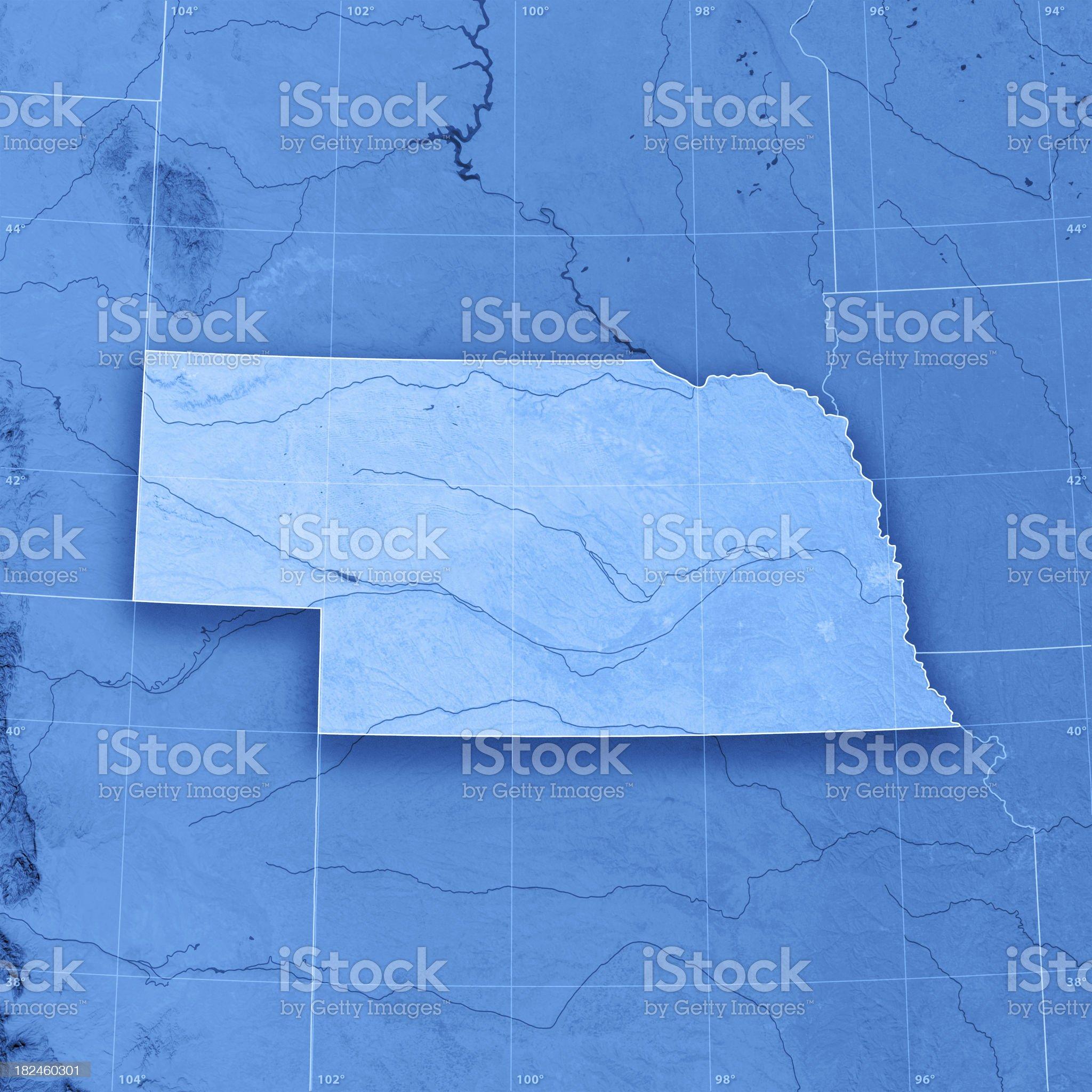 Nebraska Topographic Map royalty-free stock photo