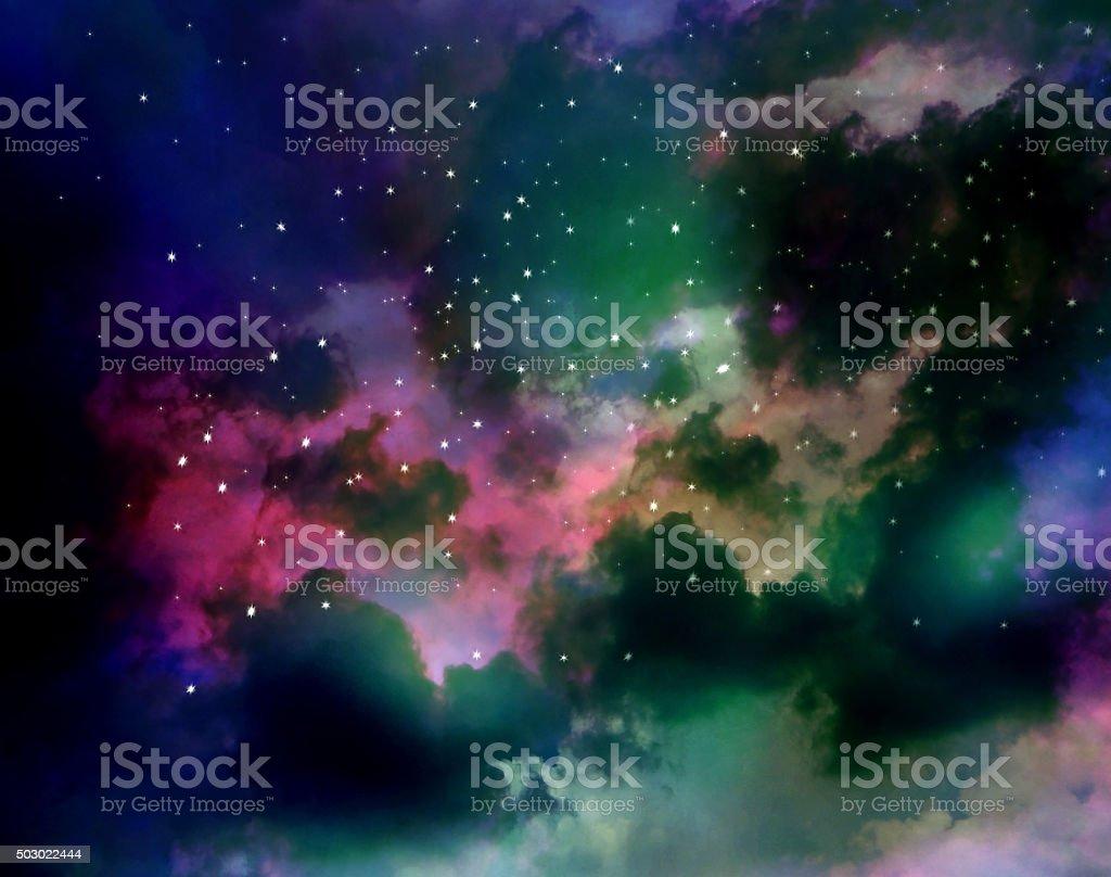 Nebula, colorful abstract gas and fog stock photo