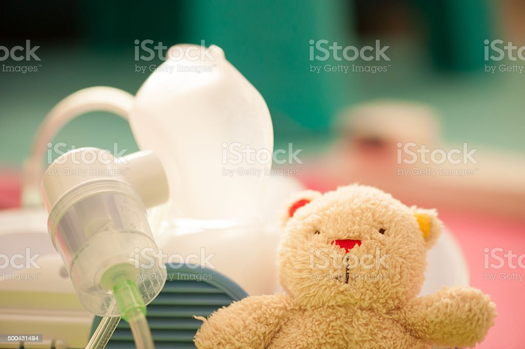 Nebulizer - respiratory deseases treatment in children stock photo