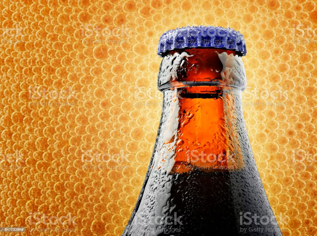 Neck of a trappist beer bottle with a lid stock photo
