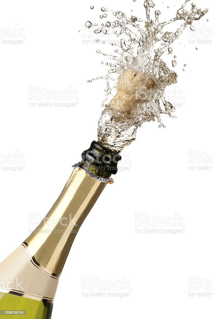 Neck of champagne bottle with cork and fizz explosion stock photo