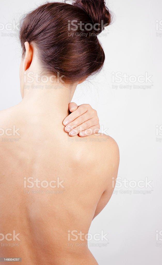 Neck Pain Massage royalty-free stock photo