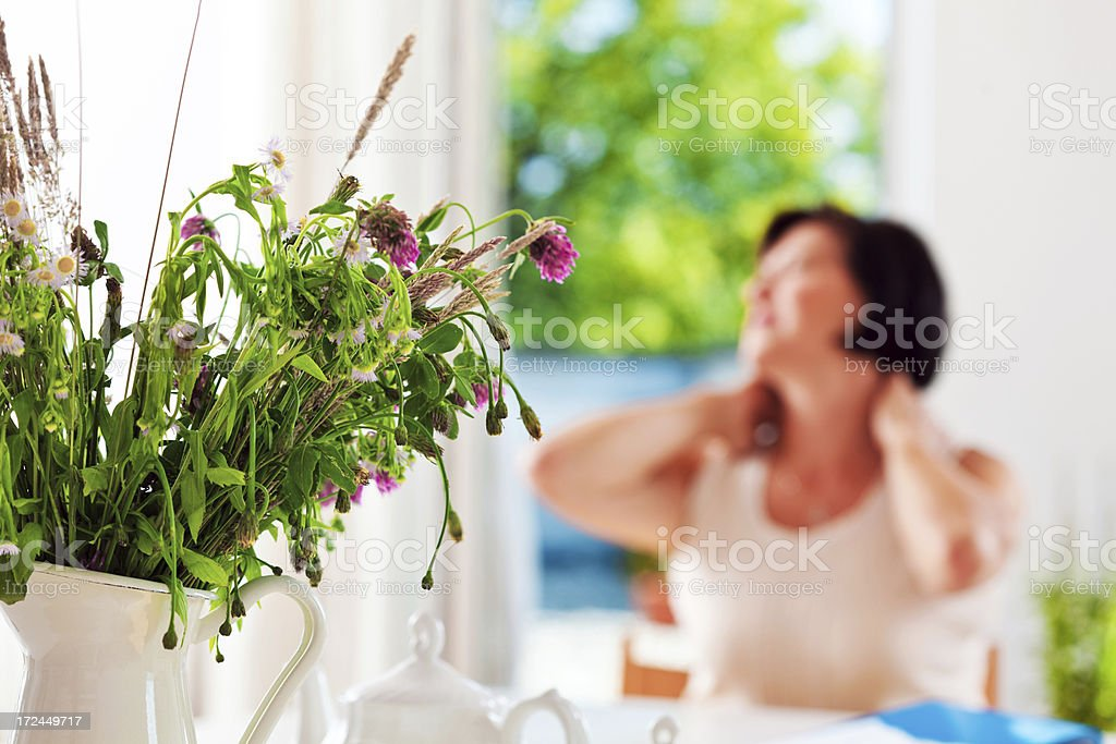 Neck pain royalty-free stock photo