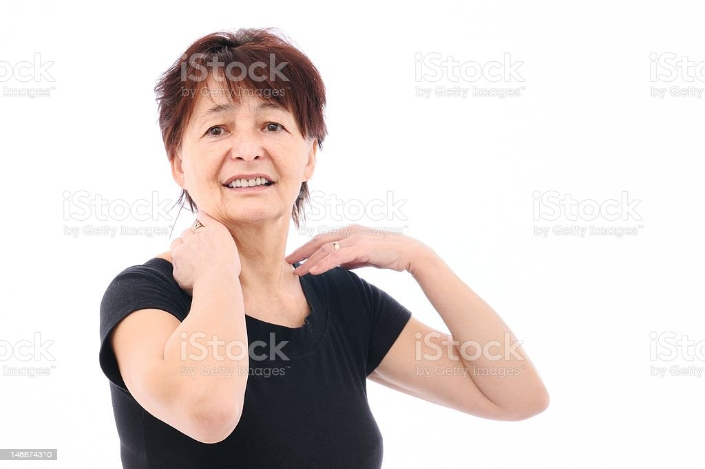 Neck pain - senior woman royalty-free stock photo
