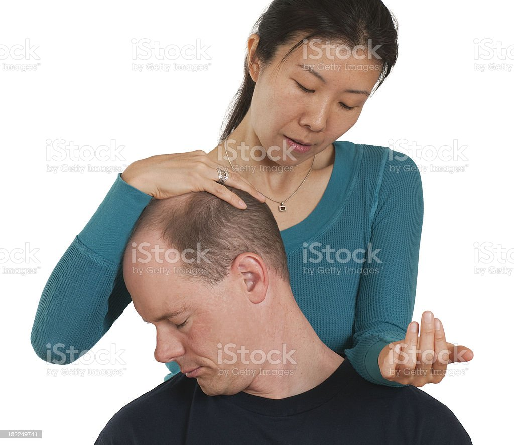 Neck Stretch - Chair Massage Series royalty-free stock photo