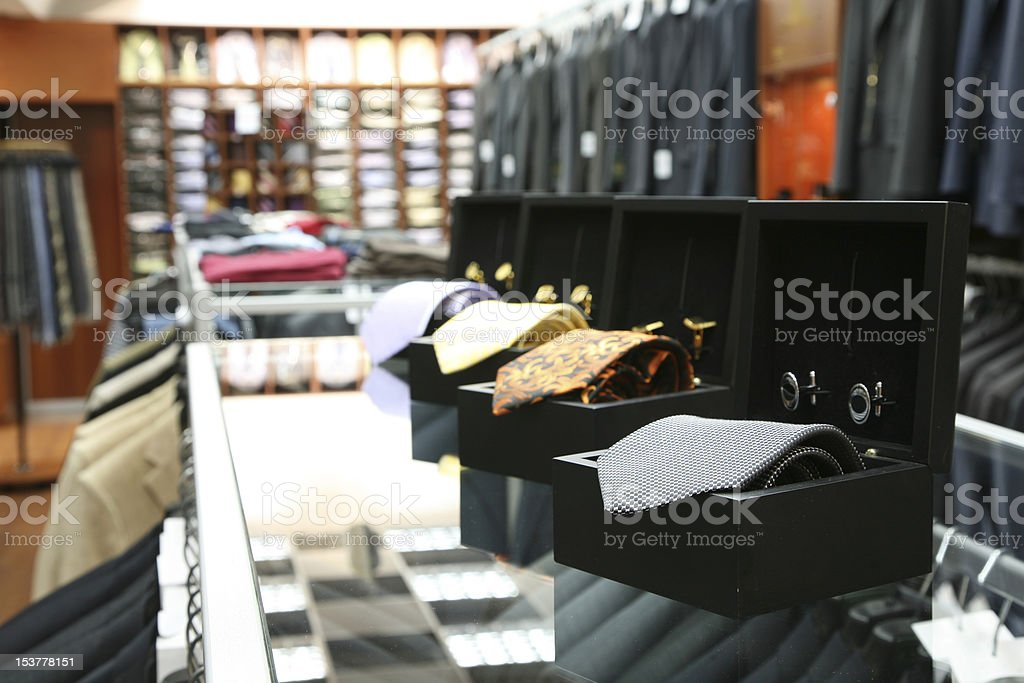 Neck ties in a fashion store royalty-free stock photo