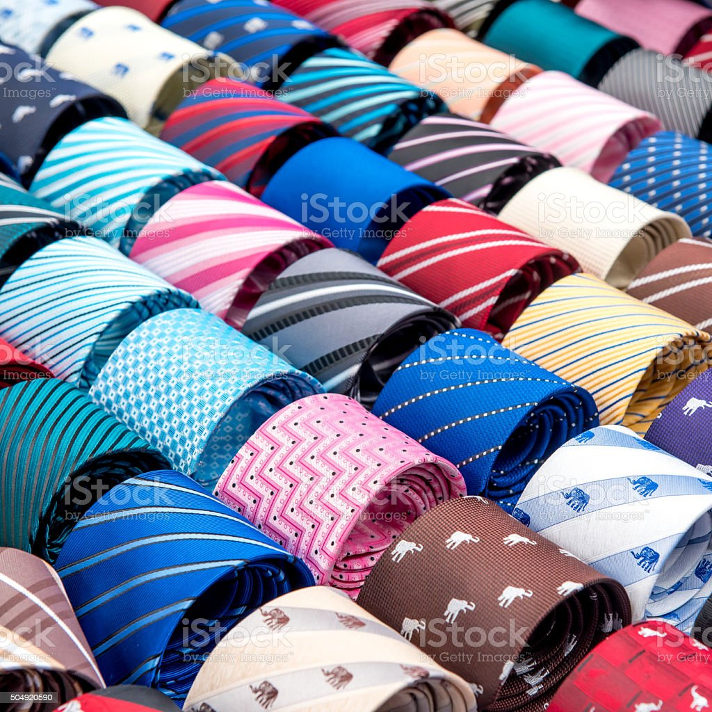 neck ties in the market stock photo