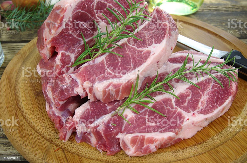 neck with rosemary and basil stock photo