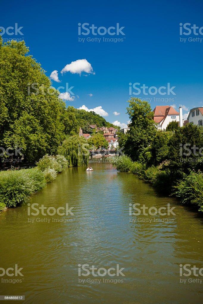 neckar river in tuebingen stock photo