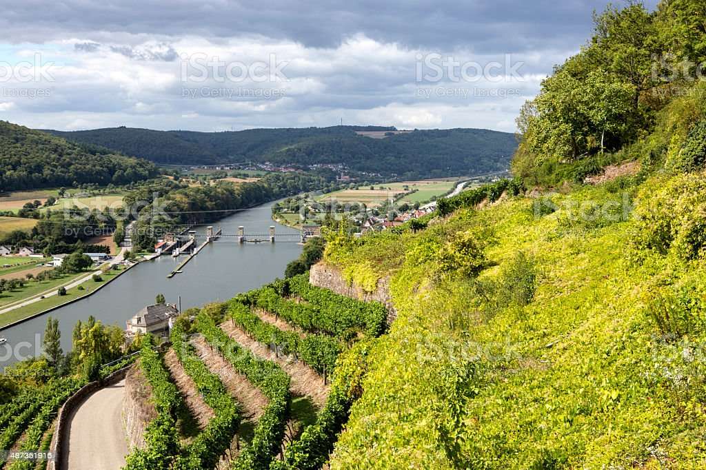 Neckar valley with floodgate stock photo